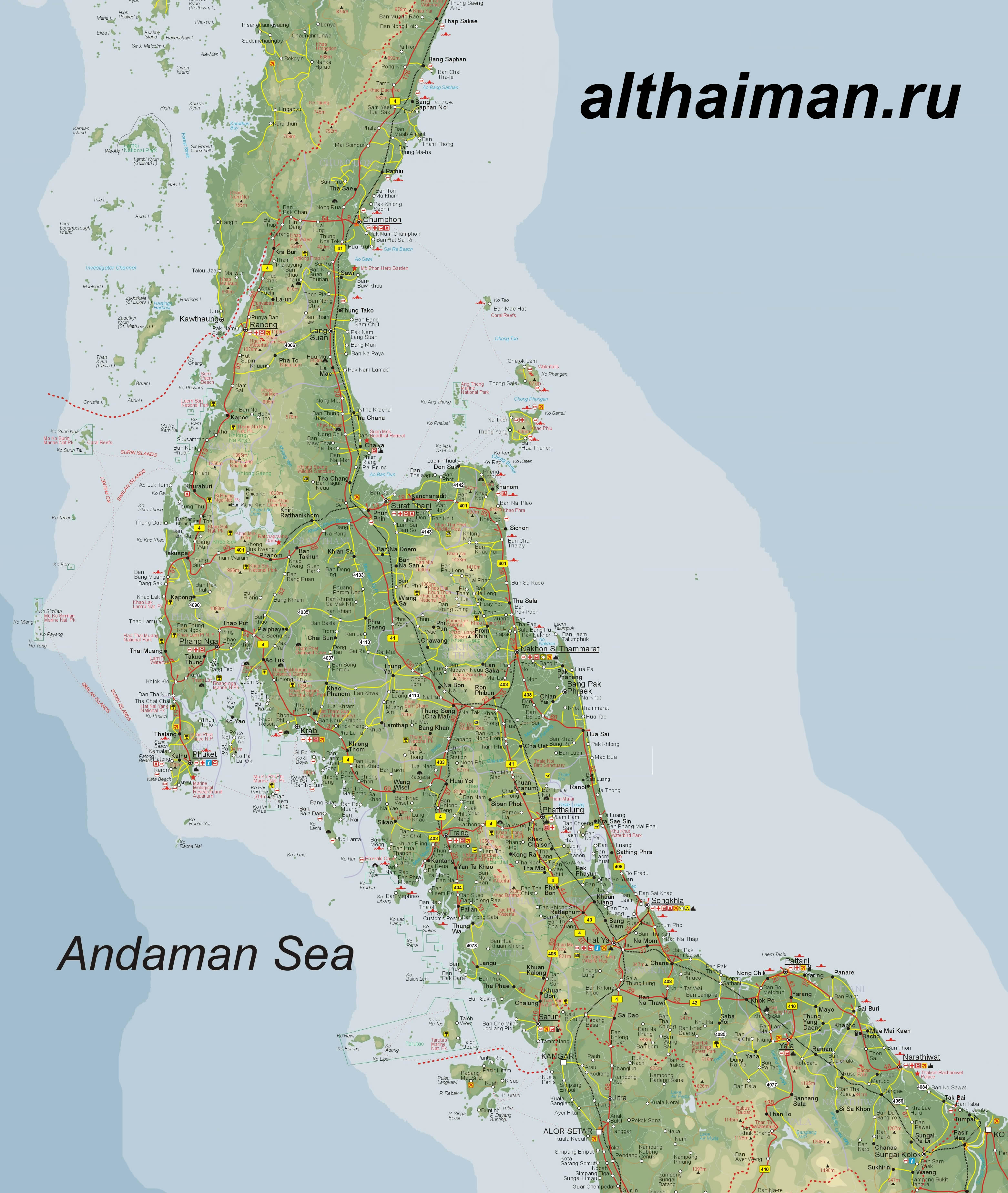 detailed map of south thailand - HD2713×2785